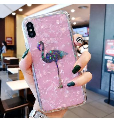 Coque étincelante iPhone XS / X Flamant rose