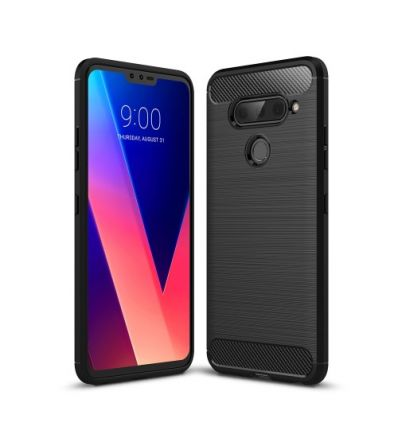Coque LG V40 ThinQ carbone brossée