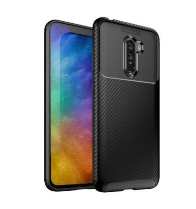 Coque Xiaomi Pocophone F1 effet fibre de carbone - Noir