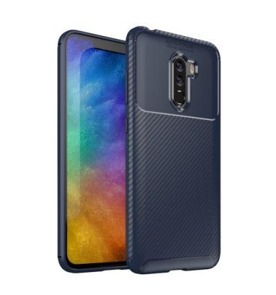 Coque Xiaomi Pocophone F1 effet fibre de carbone - Bleu