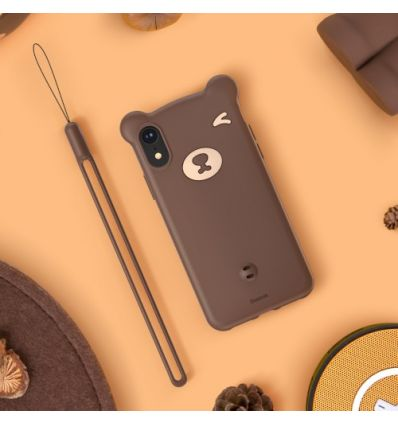 Coque iPhone XR BASEUS Ours en 3D - Marron