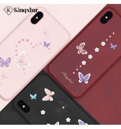 Coque iPhone XS / X Papillons 3D incrusté de diamants