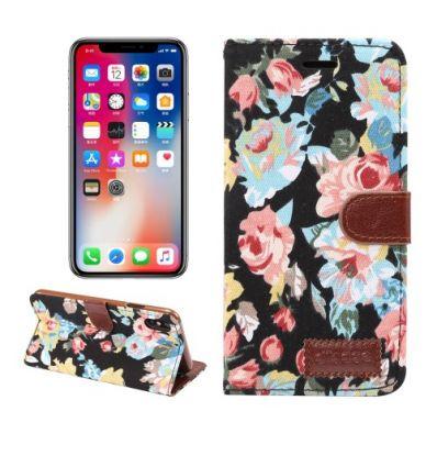 Housse iPhone XR en tissu motif fleurs - Noir