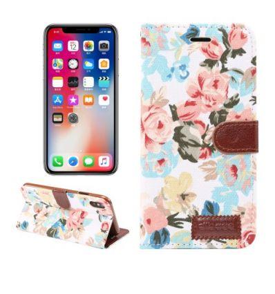 Housse iPhone XR en tissu motif fleurs - Blanc