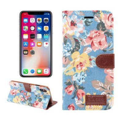 Housse iPhone XR en tissu motif fleurs - Bleu