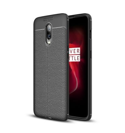 Coque OnePlus 6T style cuir texture litchi