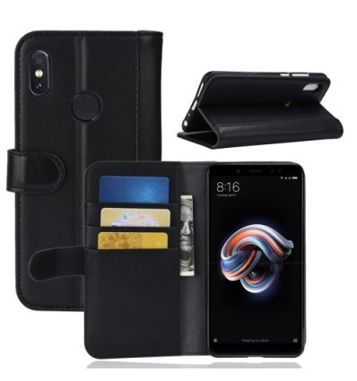 Housse Xiaomi Redmi Note 5 en cuir premium - Noir