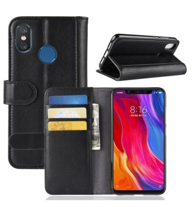 Housse Xiaomi Mi 8 en cuir premium - Noir