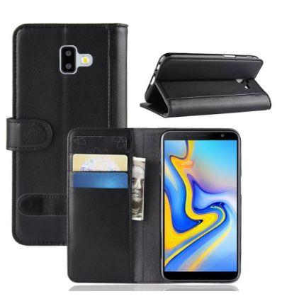 Housse Samsung Galaxy J6 Plus en cuir premium - Noir