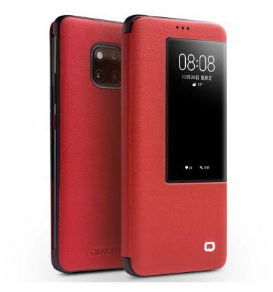Housse Huawei Mate 20 Pro en cuir avec fenêtre - Rouge