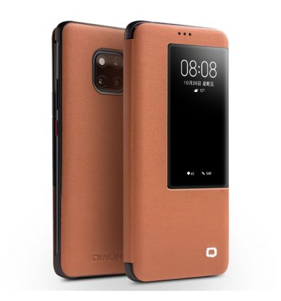 Housse Huawei Mate 20 Pro en cuir avec fenêtre - Marron clair