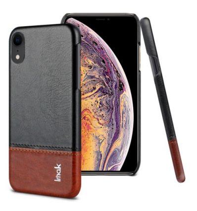 Coque imitation cuir pour iPhone XR - Noir / Marron