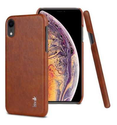 Coque imitation cuir pour iPhone XR - Marron