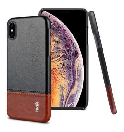 Coque imitation cuir pour iPhone XS Max - Noir / Marron
