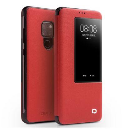 Housse Huawei Mate 20 en cuir avec fenêtre - Rouge