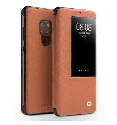 Housse Huawei Mate 20 en cuir avec fenêtre - Marron clair