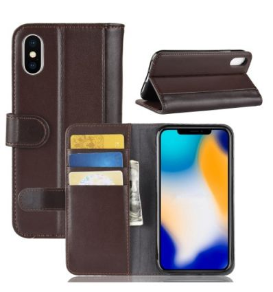 Housse iPhone XS Max cuir premium - Marron