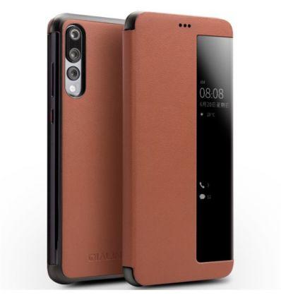 Housse Huawei P20 Pro en cuir avec fenêtre - Marron
