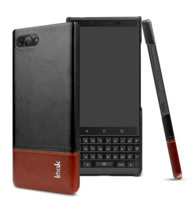 Coque BlackBerry KEY2 imitation cuir - Noir / Marron