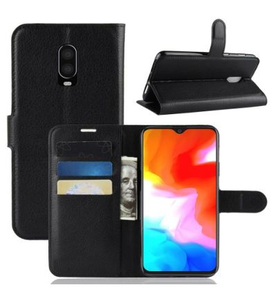 Housse OnePlus 6T Style cuir porte cartes