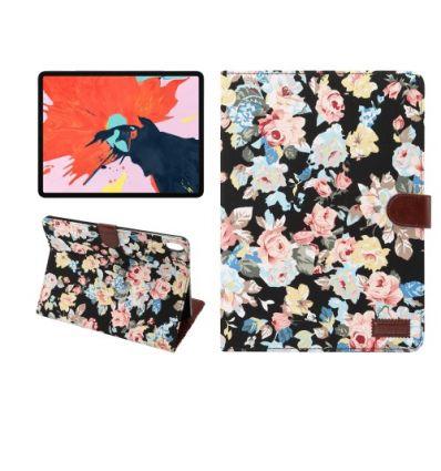 Housse fleuries iPad Pro 11 pouces en tissu - Noir