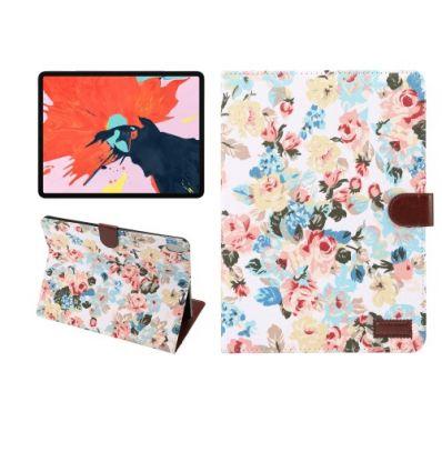 Housse fleuries iPad Pro 11 pouces en tissu - Blanc