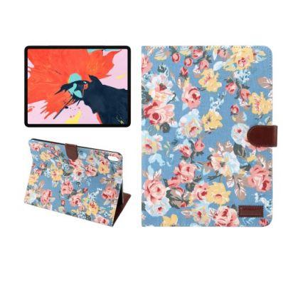 Housse fleuries iPad Pro 11 pouces en tissu - Bleu