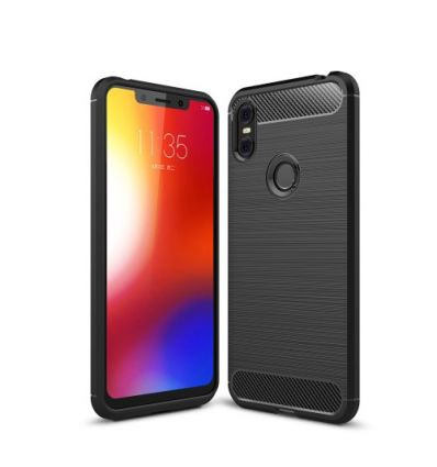 Coque Motorola One gel brossé carbone