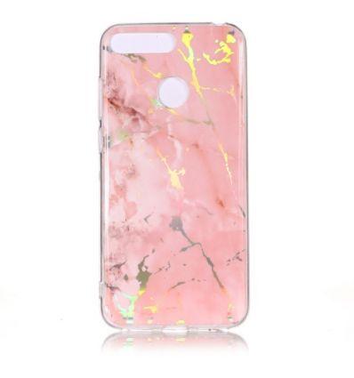 Huawei Y6 2018 - Coque marbre effet métallisé - Rose