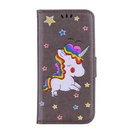 Huawei Y6 2018 - Housse portefeuille licorne paillettes