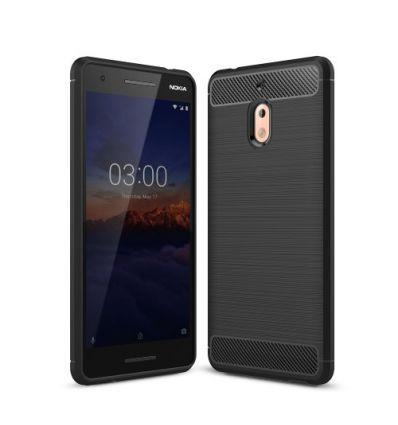 Nokia 2.1 - Coque gel brossé carbone