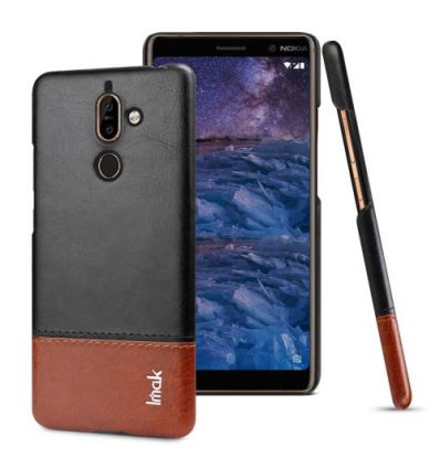 Nokia 7 Plus - Coque imak imitation cuir - Noir / Marron