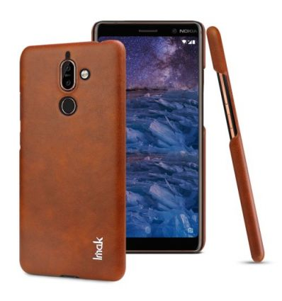 Nokia 7 Plus - Coque imak imitation cuir - Marron