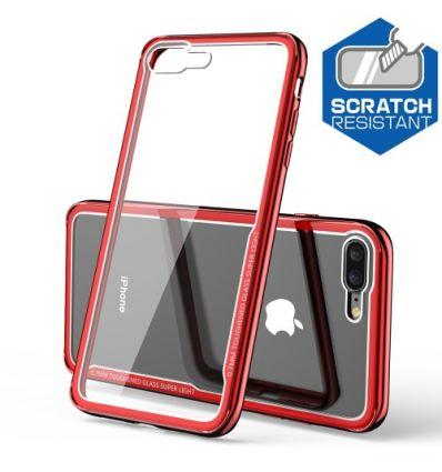 iPhone 8 Plus / 7 Plus - Coque transparente contour rouge