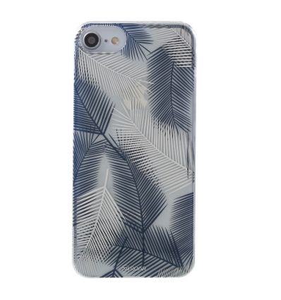 Coque iPhone SE / 8 / 7 feuilles de palmier - Bleu / Blanc