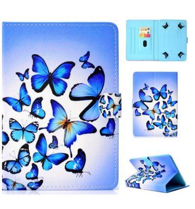 Housse universelle pour tablette 10 pouces papillons bleus