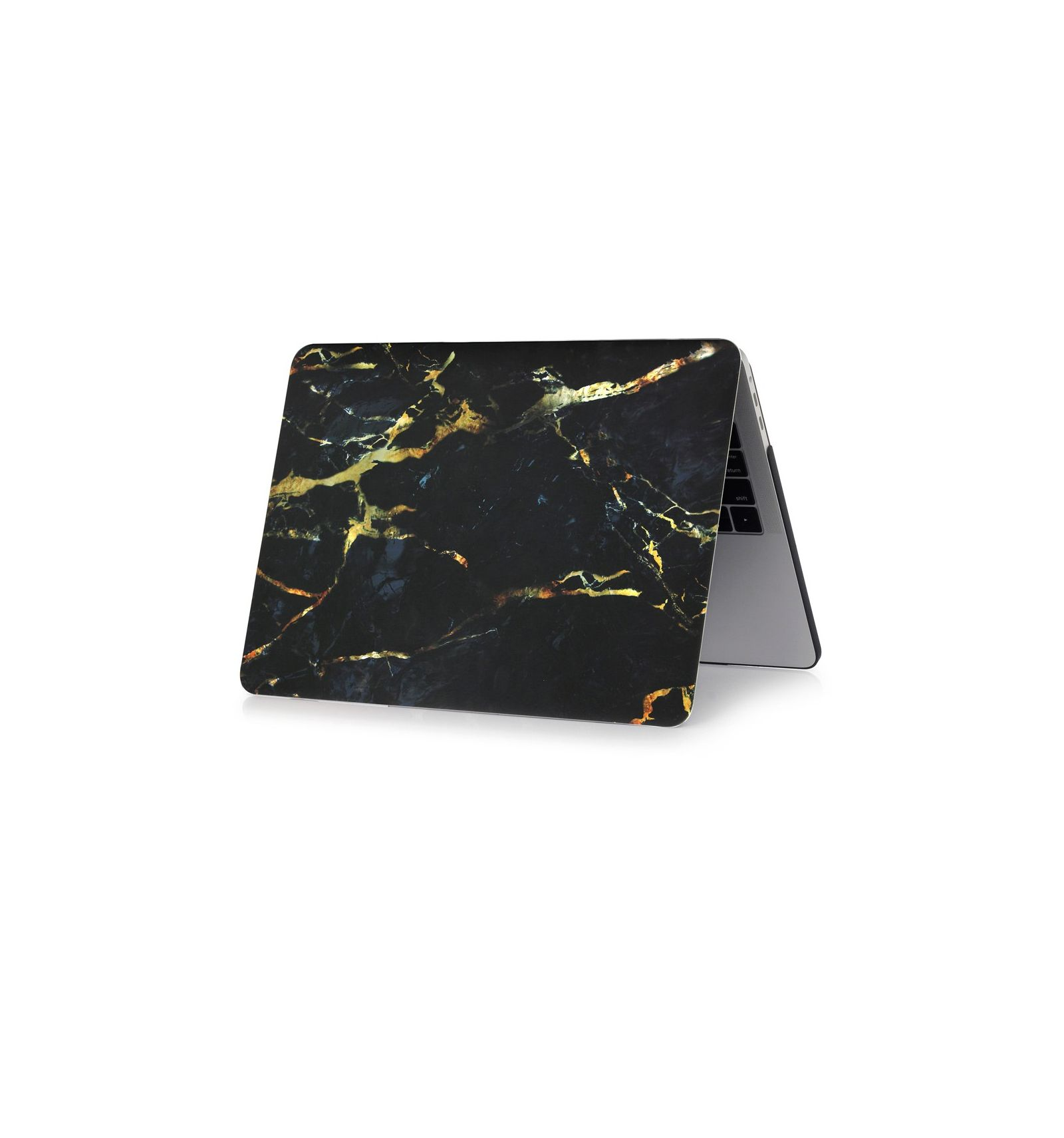 macbook air 13 pouces 2018 coque motif marbre noir or