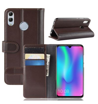 Honor 10 Lite - Housse cuir premium porte cartes - Marron