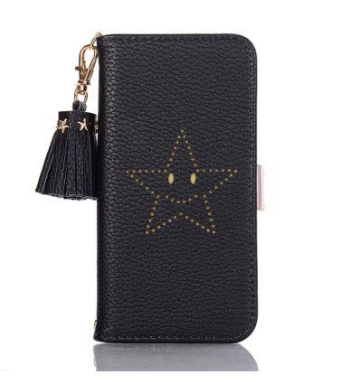 iPhone XR - Housse cuir texturé étoile souriante