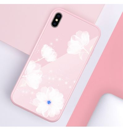 iPhone XS Max - Coque design fleurs blanches
