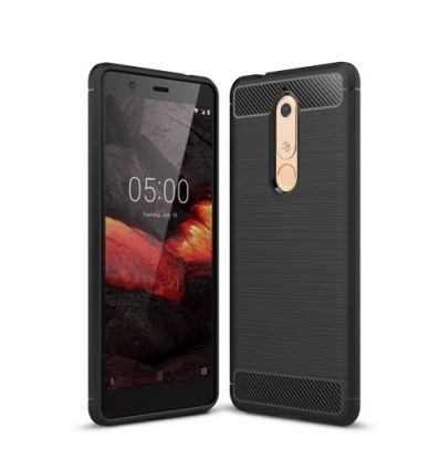 Nokia 5.1 - Coque gel brossé carbone