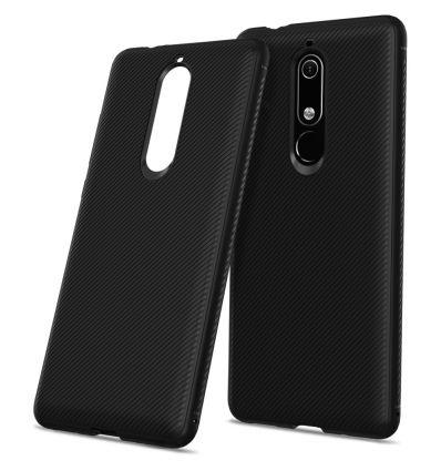 Nokia 5.1 - Coque gel silicone effet armure - Noir