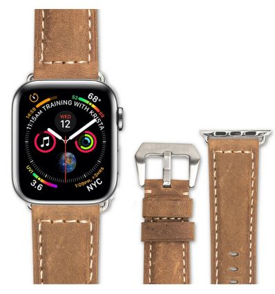 Bracelet Apple Watch 42mm - 44mm en cuir véritable - Marron