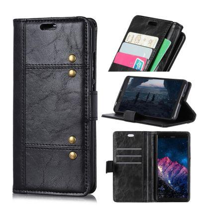 Nokia 8.1 - Étui en cuir premium avec rivets