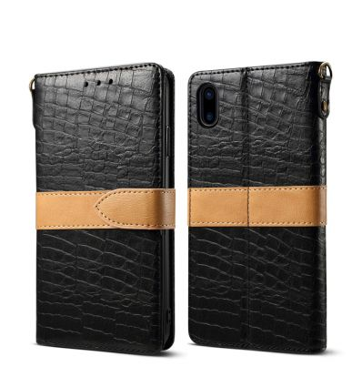 iPhone XS / X - Étui imitation croco porte cartes