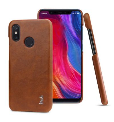 Coque Xiaomi Mi 8 imak imitation cuir - Marron