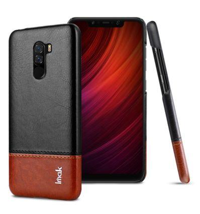 Coque Xiaomi Pocophone F1 imak imitation cuir - Noir / Marron