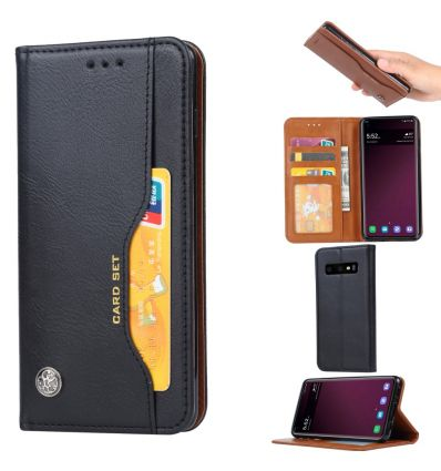 Samsung Galaxy S10 - Étui porte cartes cuir stand case