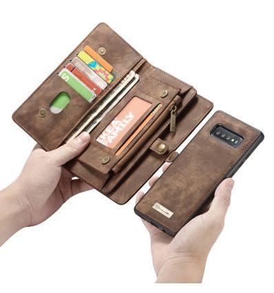 Samsung Galaxy S10 - Coque et étui portefeuille 2-en-1 - Marron