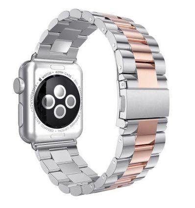 Bracelet en Acier inoxydable pour Apple Watch 42mm - 44mm - Argent / Or rose